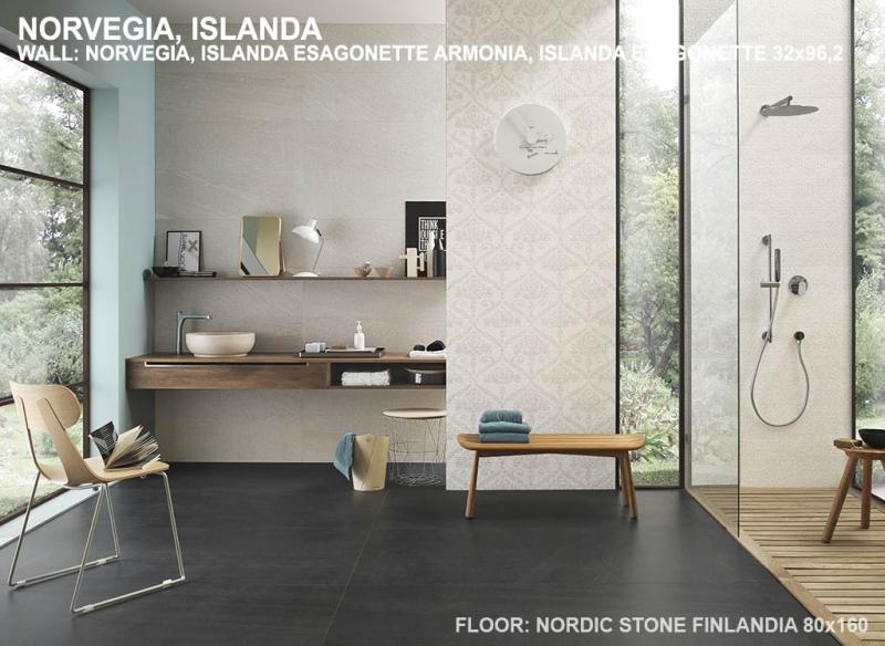 Rivestimento ceramica impronta italgraniti nordic stone wall